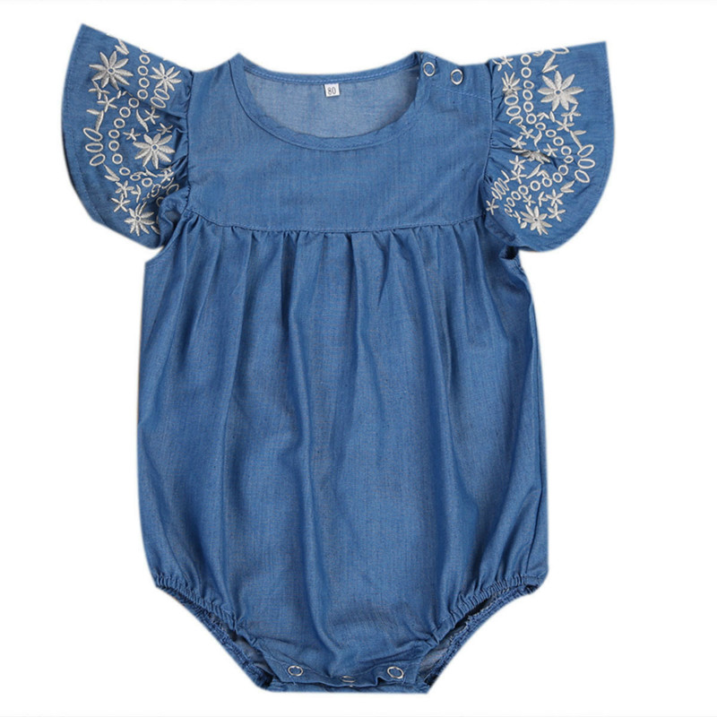 Fashion Newborn Baby Girls Infant  Denim Floral Embroidery Sleeveless Romper Kids Jeans Jumpsuit Playsuit Outfits Sunsuit 0-2Y puseky 2017 infant romper baby boys girls jumpsuit newborn bebe clothing hooded toddler baby clothes cute panda romper costumes