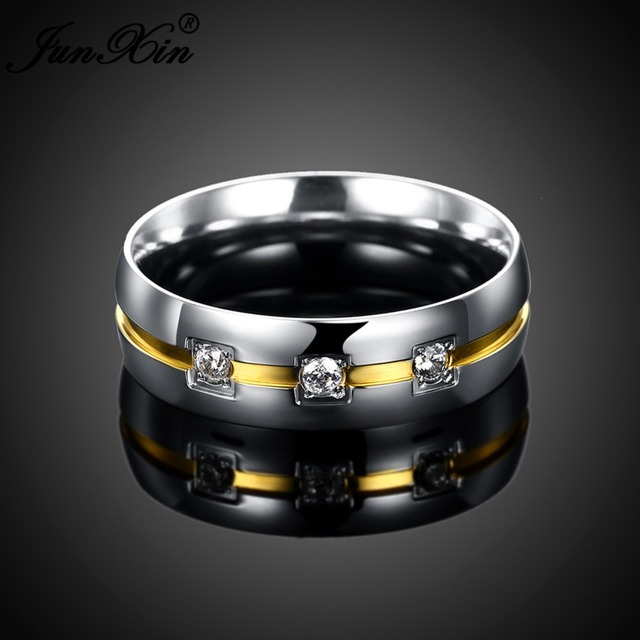 JUNXIN Male Female Stainless Steel Round Ring With Crystal