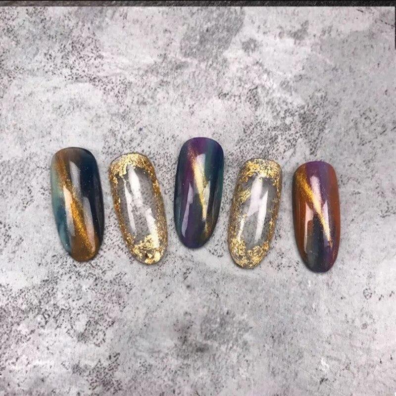 MIZHSE Gold Silver Irregular Aluminum Foil Paper Nail Art Sticker 3D Glitter DIY Manicure UV Gel Polish Nail Decoration Tools 70