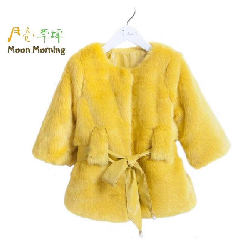 ФОТО Moon Morning Winter Kids Coat Girls Faux Fur Jacket Patchwork Thickening Warm Brand Designer Children Clothing New 2016 1pcs/lot