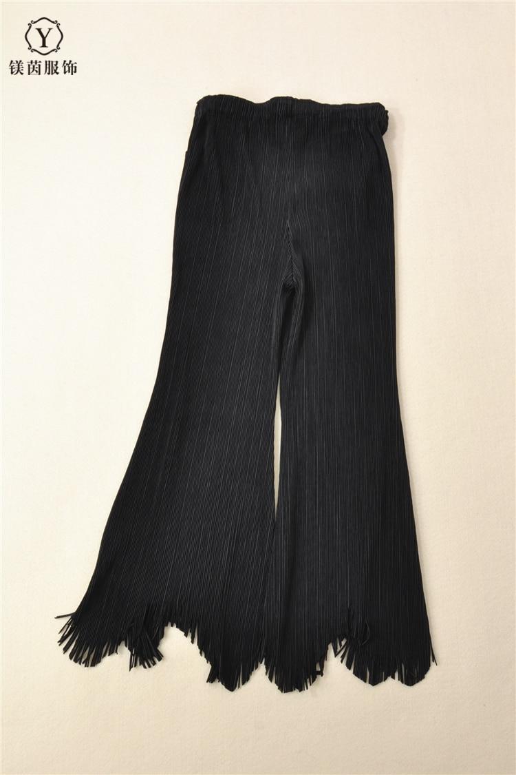 ¡Envío gratis! pantalones Miyake con flecos de moda de color puro y diseño artístico en STOCK - 4