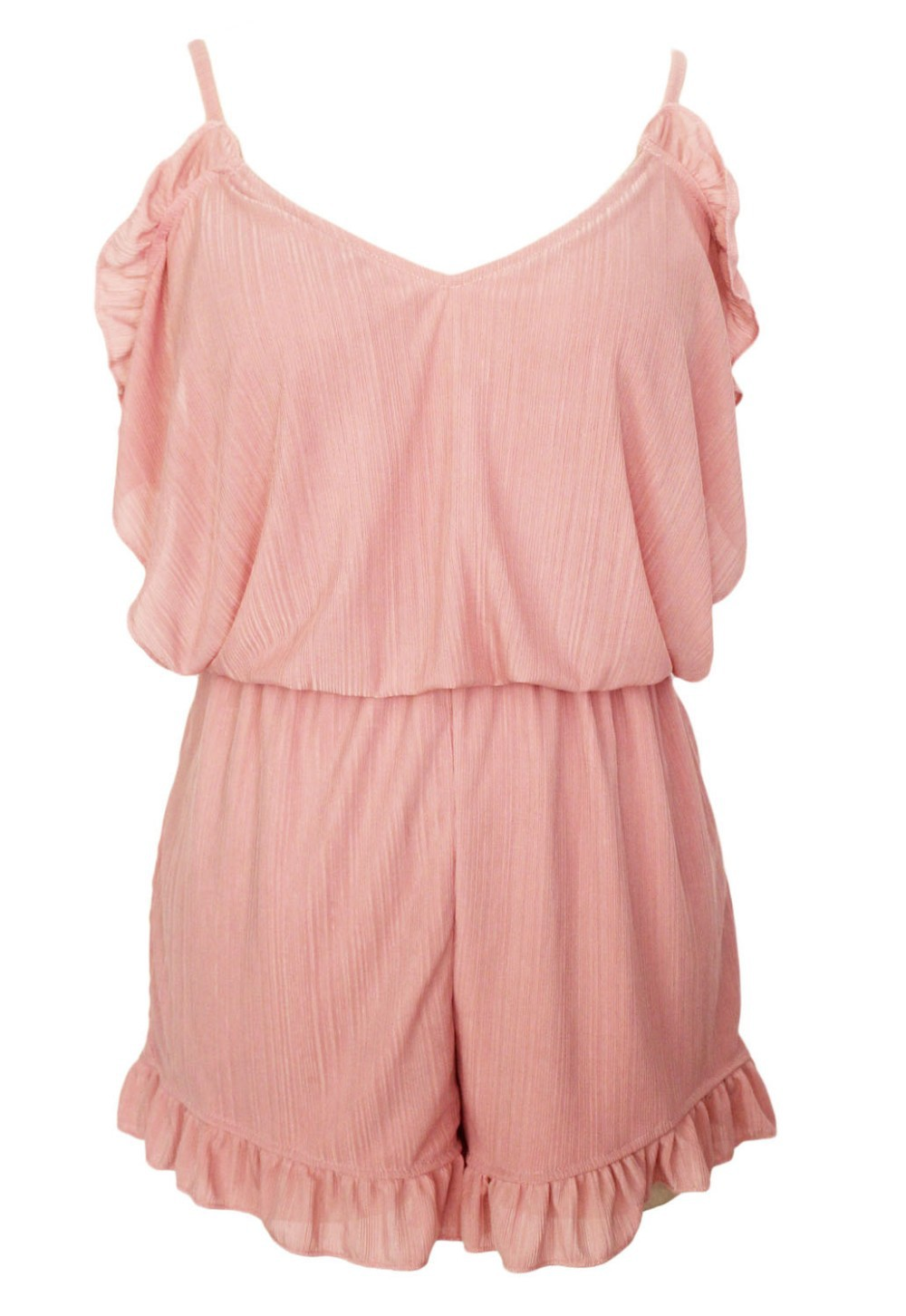Pink-Ruffle-Off-The-Shoulder-Romper-LC60275-3