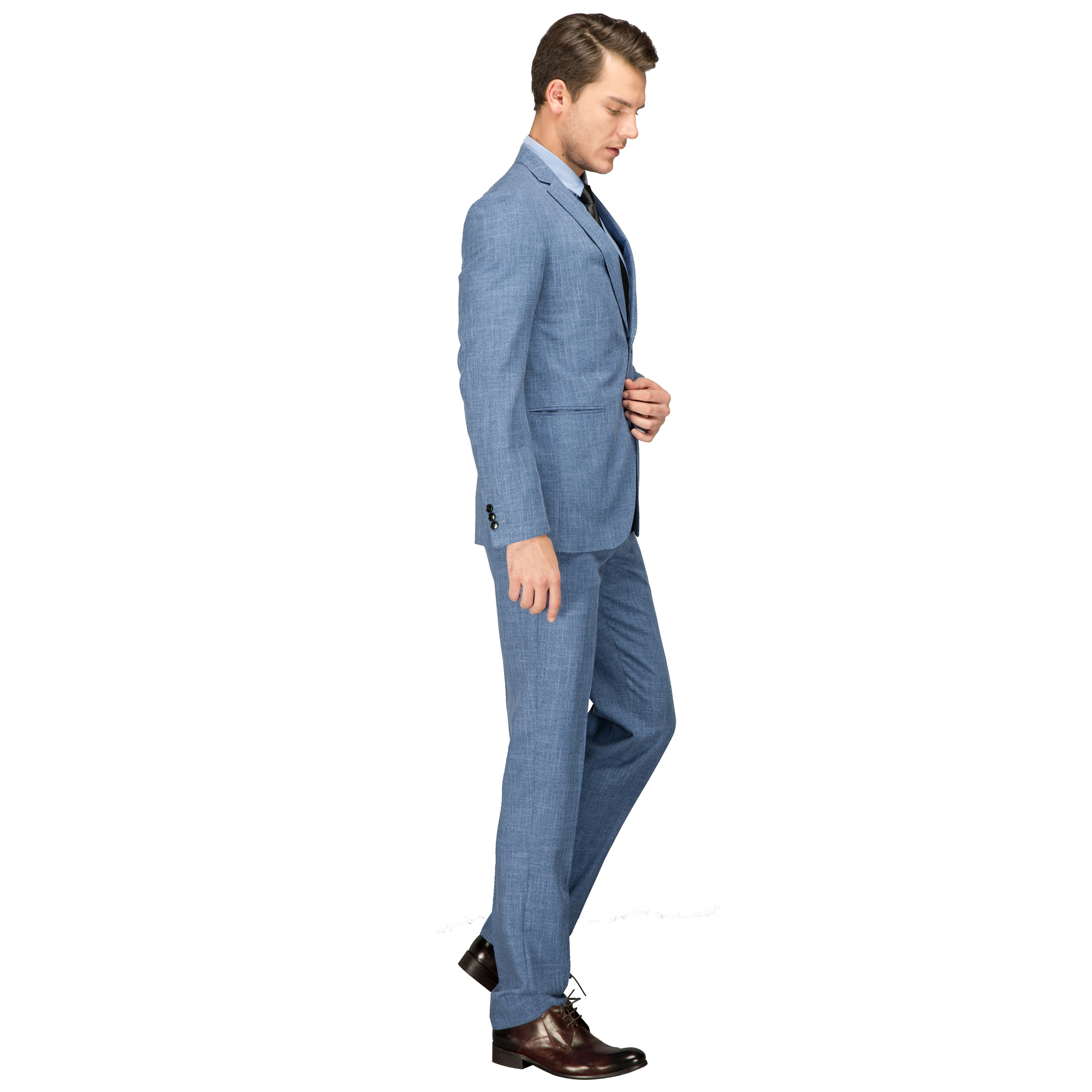 OSCN7 Suit Men Light Blue Wool Wedding Fashion Tailor Made Suit Slim ...