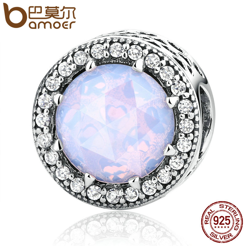 BAMOER 100 925 Sterling Silver Radiant Hearts Opalescent Pink Crystal Clear CZ Fit Bracelets DIY Jewelry