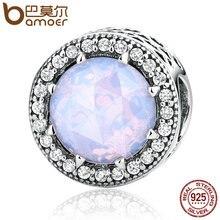 Bamoer 100% 925 sterling silver corazones radiante, opalescente Pink Crystal & Clear CZ Pulseras Joyería Apta DIY PAS391
