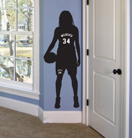 Basketball Girls Personalized Name Number Wall Decal Removable Custom Basketball Team Name Wall Stickers For Kids