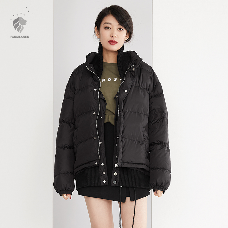 FANSILANEN 2017 Fashion Winter Loose Short Womens Down Jackets Brands Solid Black Lose Weight Especially Female Z6964