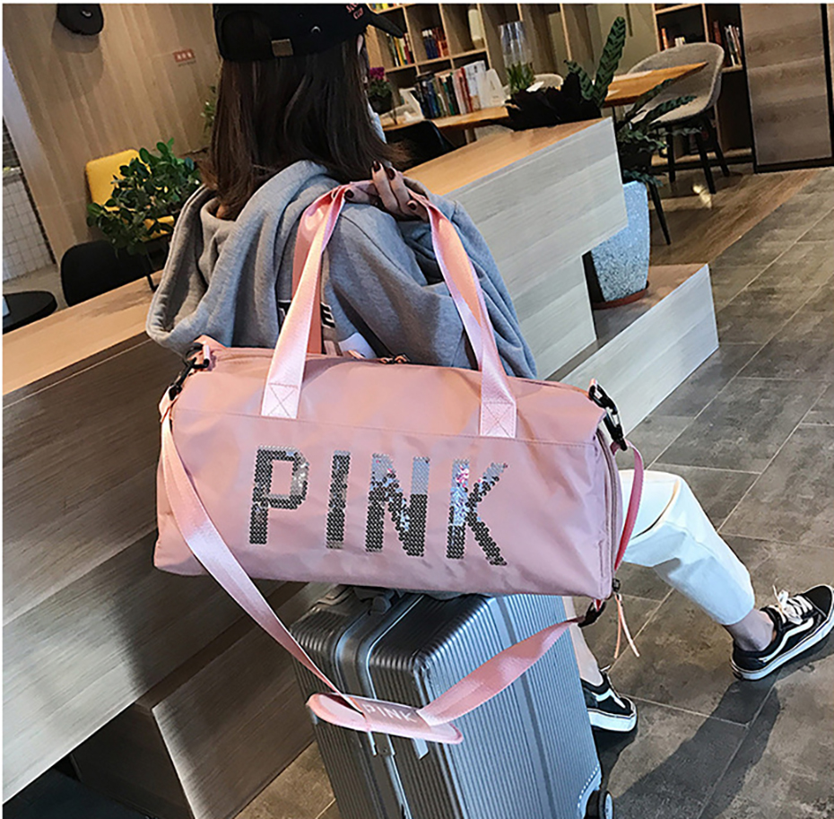 Outdoor Waterproof Nylon Sports Gym Bags Men Women Training Fitness Travel Handbag Yoga Mat Sport Bag with shoes Compartment01003110