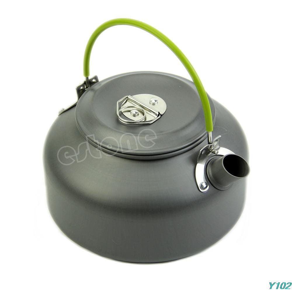 0 8L Ultra light Camping Survival Water Kettle Teapot Pot Aluminum With Mesh Bag Free shipping