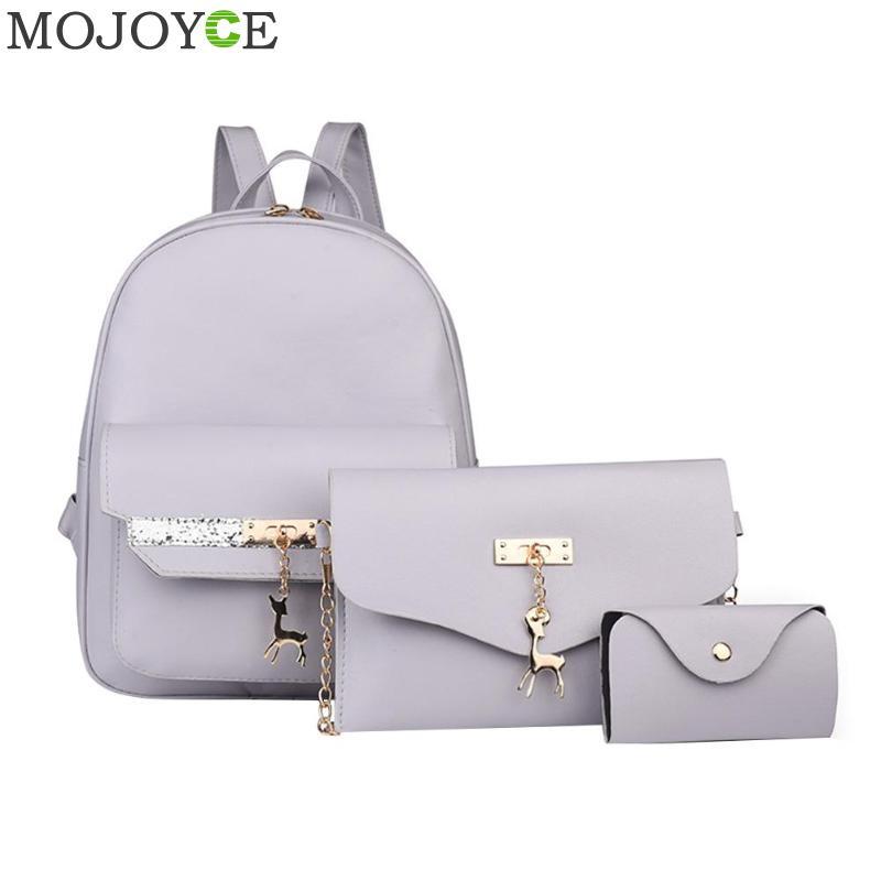 3Pcs Stylish Leather Backpack for Women Glitter Deer Pendant Fashion Women Backpack PU bolsa mochila Feminina Travel Rucksack