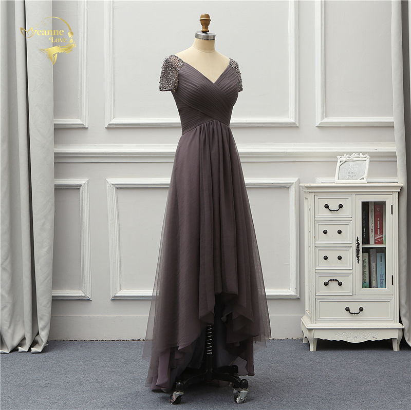 Jeanne Love Luxury Evening Dress New Arrival Front Short Long Back Short Sleeves Party Robe De Soiree Vestido De Festa OL5232 6