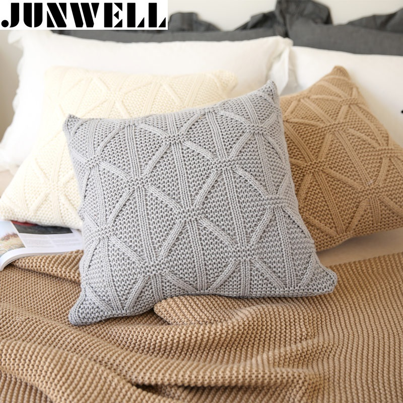 Junwell Acrylic Knitted Cushion  Twist Throw Pillow Sofa Office Back Braided Cushion Coussin Cojines Decorative 45x45cm Square