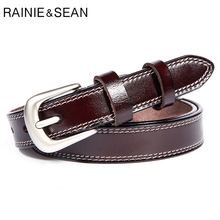 RAINIE SEAN Genuine Leather Belt Women Classic Coffee Pin Buckle Female Elegant Cow Waist Strap for Trousers