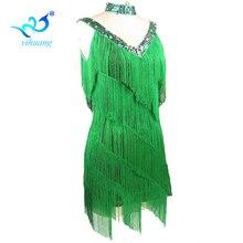 무료 배송 1920 년대 Flapper 술 드레스 여성 찰스턴 파티 의상 라틴 댄스 드레스 살사 탱고 볼룸 성능