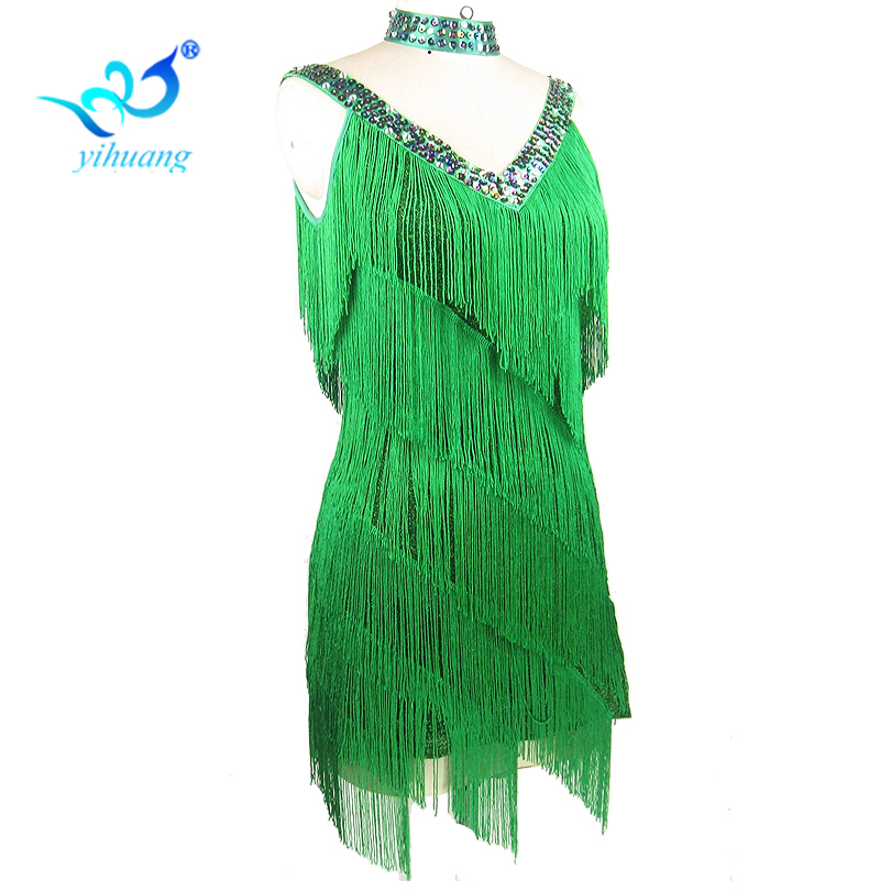 Gratis frakt 1920-tallet Flapper Tassel Dress Kvinner Charleston Festdrakter for Latin Dance Dress Salsa Tango Ballroom Performance