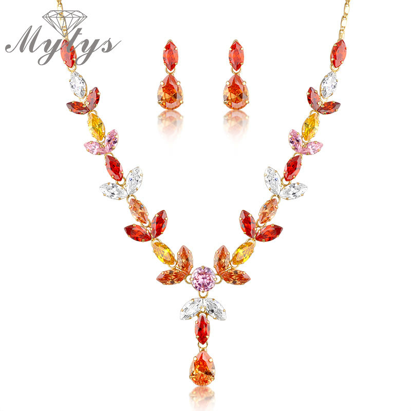 Mytys Crystal Autumn leaf Jewelry Sets Earrings and Necklace Sets 2017 Fashion Wholesale Jewelry N307 artificial turquoise triangle cuff bracelet