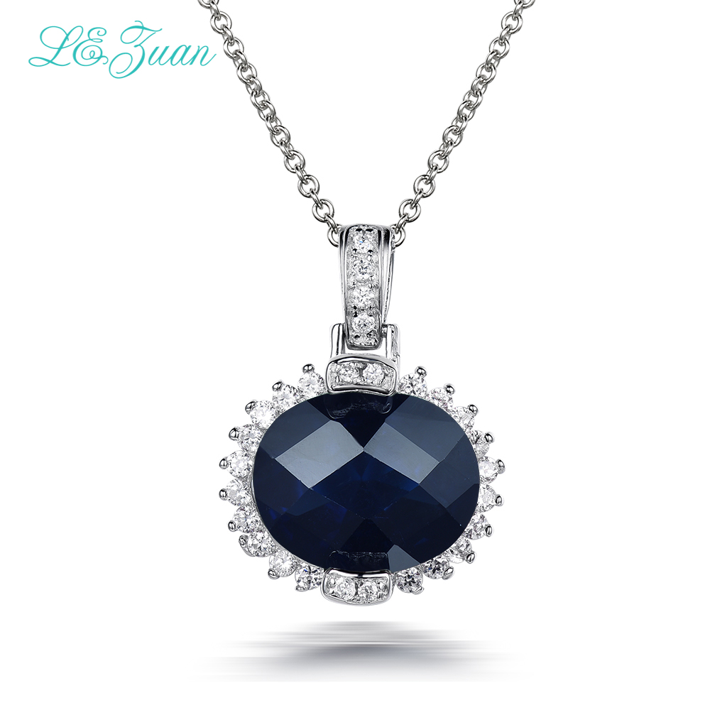 I&zuan 6.58ct Blue Stone Pendants Real 925 Sterling Silver Jewelry Necklace Pendant For Women Trendy Lace Pendant trendy gothic vivid beaded pendant lace necklace for women