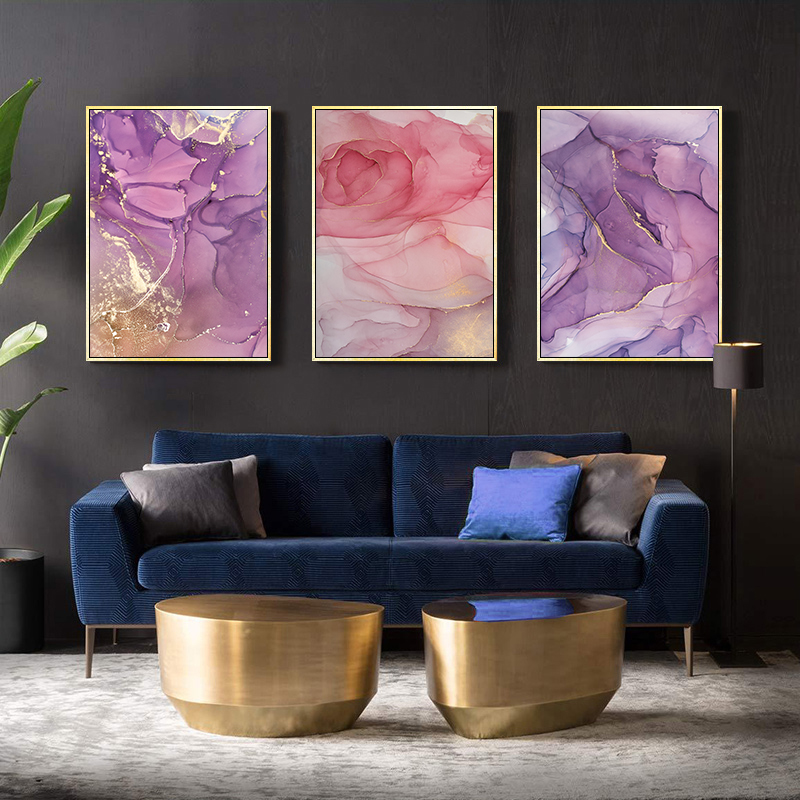 HTB1lvk8USzqK1RjSZFHq6z3CpXay Modern Abstract Beautiful Colorful Golden Petals Ink Canvas Painting Wall Art Nordic Print Scandinavian Decoration Picture