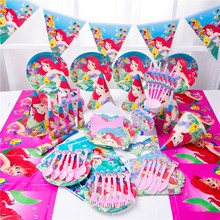 Cute Mermaid Ariel Girls Baby Shower Party Decoration Paper Napkins Banner Table Cloth Straws Cup Plates Birthday Supplies