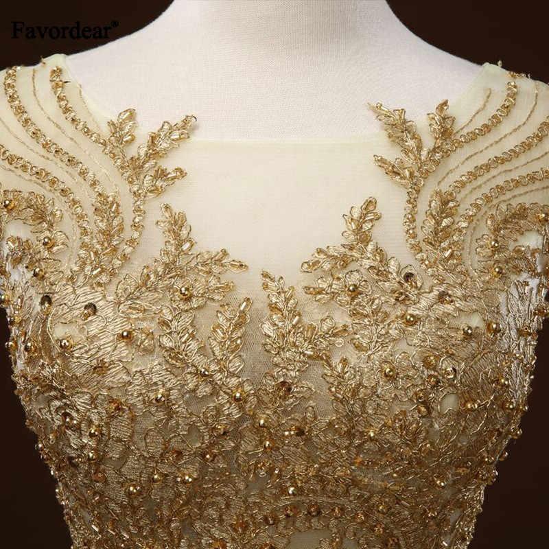 Favordear Шампанское Аппликация золотого цвета свадебное платье класса люкс Vestido De Novia Princesa Бисероплетение Часовня Поезд зубчатое свадебное платье