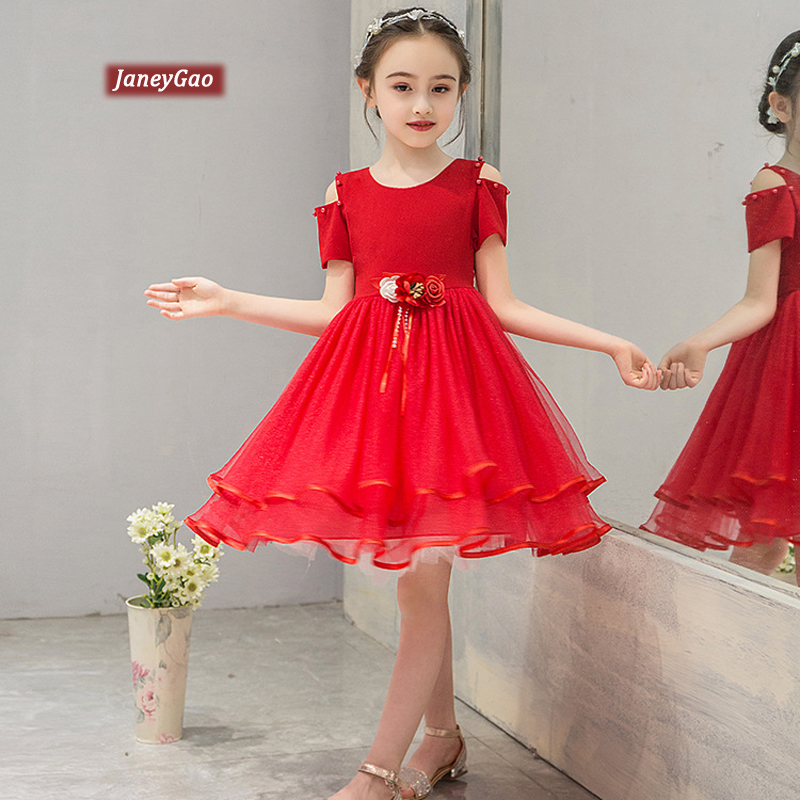 JaneyGao   Flower     Girl     Dresses   For Wedding Party Chiffon   Girls   Ball Gown Communion   Dresses   High Quality Tutu   Dress