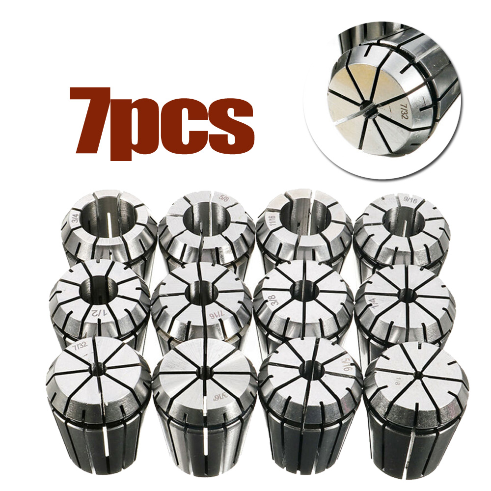 7PCS ER-32 Spring Collets CNC Precision SET 3/16 1/4 5/16 3/8 1/2 9/16 3/4  For Coolant-thru Tool Applications7PCS ER-32 Spring Collets CNC Precision SET 3/16 1/4 5/16 3/8 1/2 9/16 3/4  For Coolant-thru Tool Applications