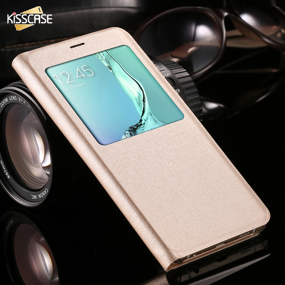 kisscase smart sleep flip case for samsung galaxy s6 edge plus full protector window view cover. Black Bedroom Furniture Sets. Home Design Ideas