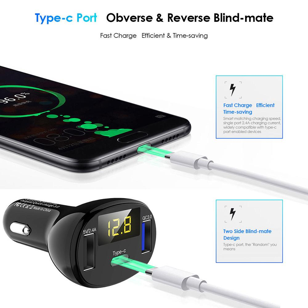Universal Mobile Phone Charger Adapter 3 Ports USB Type-c QC3.0 Quick Charge Car Charger Adapter LED Voltmeter