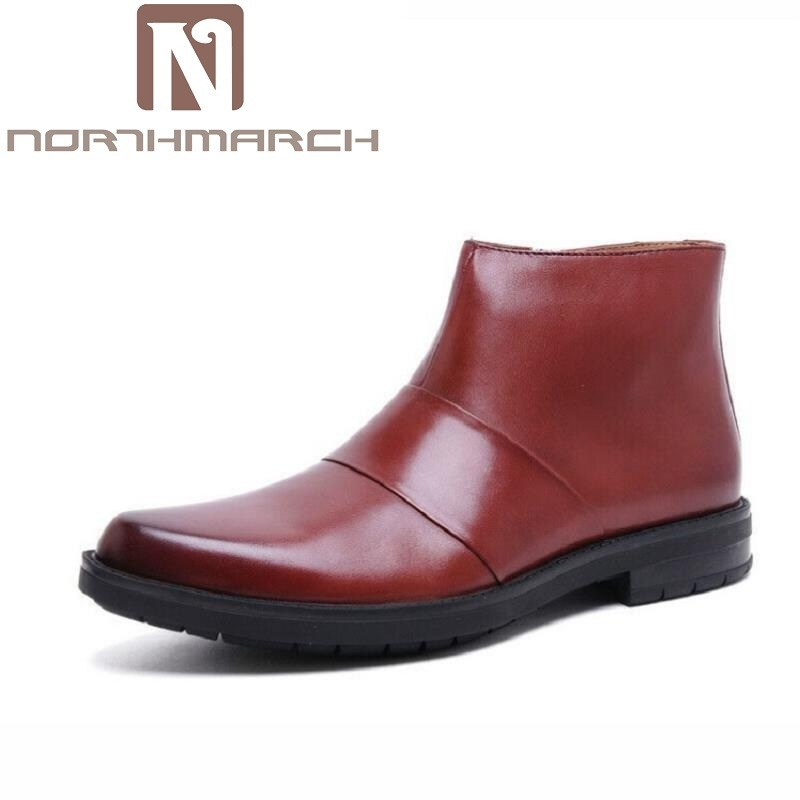 NORTHMARCH Brand 2018 Luxury Quality Genuine Leather Winter Boots Men Casual Handmade Round Toe Zip Business Shoes Men Bota mycolen brand quality genuine leather winter boots comfortable black men shoes men casual handmade round toe zip wear boots