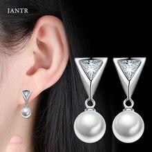 JANTR triangle earrings imitation pearl temperament earrings fashion female ear ornaments anti-allergic