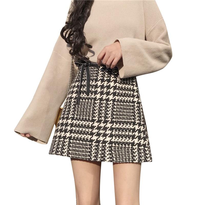 Chic Skirt Spring Autumn New Fashion Skirts Women High Waist Sash Bowtie PP Home Skirt Retro Plaid Mini A Line Skirt Bottoms