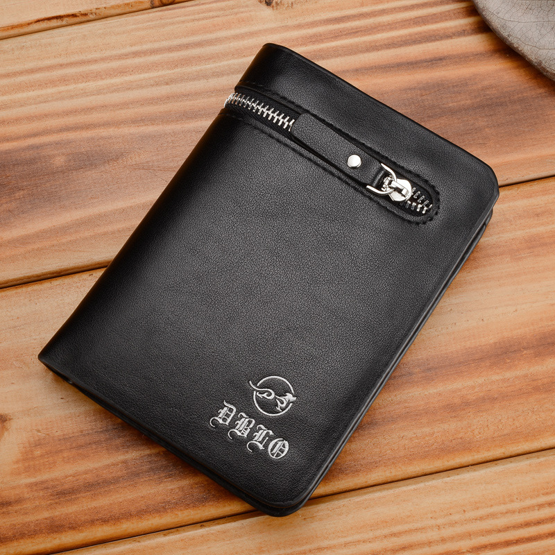 Top Quality Male Black Coffee Leather Wallet Business Card Holder Coin Purse Pockets Wallets with Zip for Men man leisure slim black coffee short leather wallet thin brand male card holder purses wallets for men free shipping