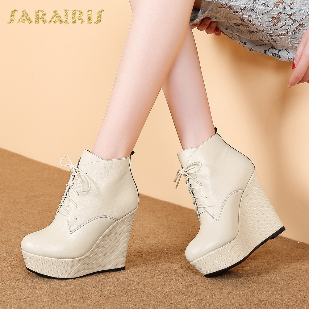 SARAIRIS 2018 Genuine Leather Fashion Sexy Women Boots Woman Shoes Ankle Boots Lace Up Wedge High Heels Shoes Woman цены онлайн
