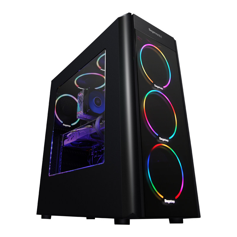 Kotin A9 <font><b>Ryzen</b></font> <font><b>5</b></font> <font><b>2600</b></font> Hexa Core Gaming PC Desktop GTX1060 5GB GPU 120GB SSD 8GB RAM Computer 4 RGB Fans for PUBG Cool Desk PC image