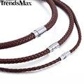 Klassische herren Leder Halskette Halsband Schwarz Braun Geflochtenen Seil Halskette für Männer Geschenke Großhandel Dropshipping Männlichen Schmuck UNM27