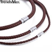 Gargantilla clásica de cuero para hombre, collar de cuerda trenzada negra y marrón para hombre, regalos, venta al por mayor, joyería para hombre UNM27