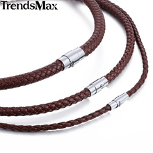 4/6/8mm Brown Braided Cord Rope Man-made Leather Necklace w/ Silver Tone Magnetic Clasp UNM27