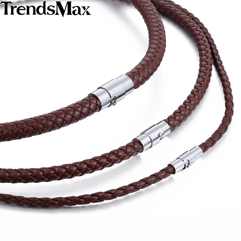 Leather Mens Necklace Surfer Choker Leather Necklace for Men with Bayonet Clasp Length 18