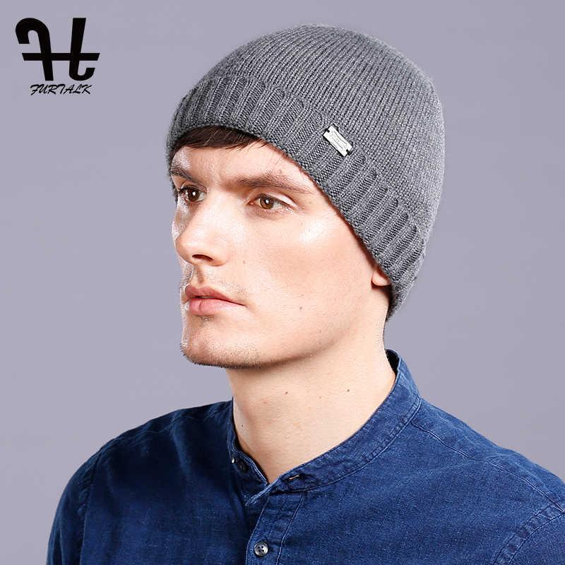 381ea69afbd FURTALK 100% Wool Knitted Cashmere Men Winter Hat Knit Skullies Beanies Hats  Male HTWL093