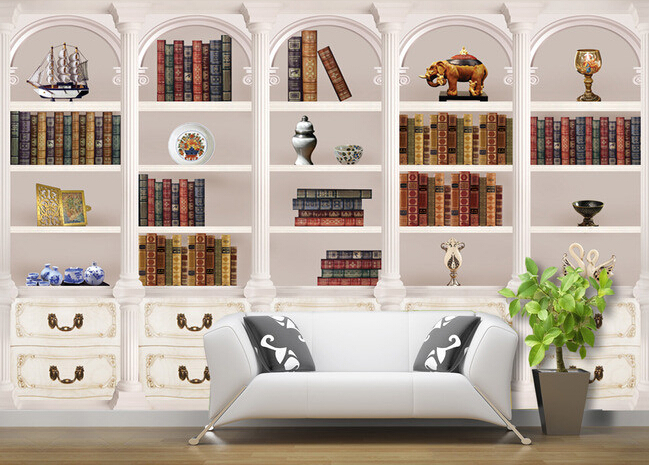 Custom papel DE parede 3 d, coloring book bookcase murals for study of the sitting room TV setting wall wallpaper цена 2017