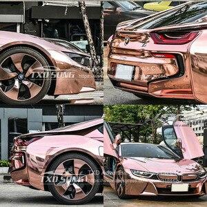 Image 5 - 50CM * 1 M/2 M/3 M/4 M/5 M רול רכב סטיילינג גבוהה stretchable מירור רוז זהב Chrome מירור ויניל לעטוף גיליון רול סרט רכב מדבקה