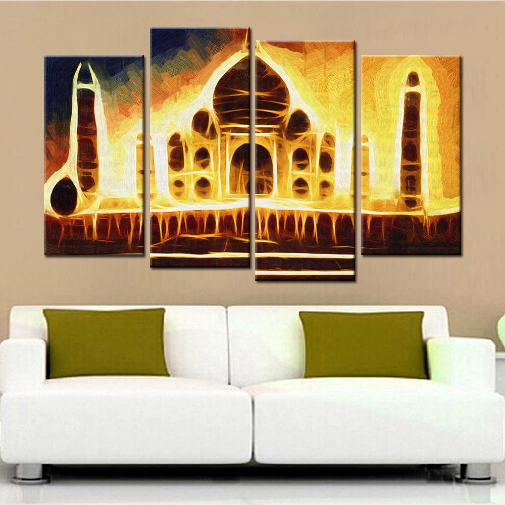 4 Panels Abstract India Palace Landscape Modern Wall Painting Wall ...