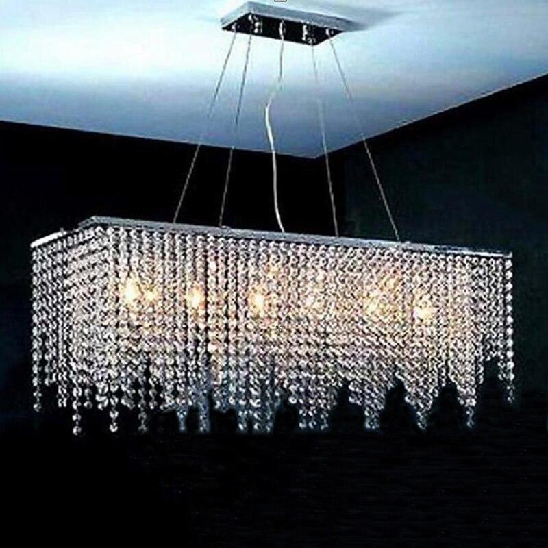 Long Dining Room Chandeliers: Modern Long Crystal Chandelier LED Light Luster Modern