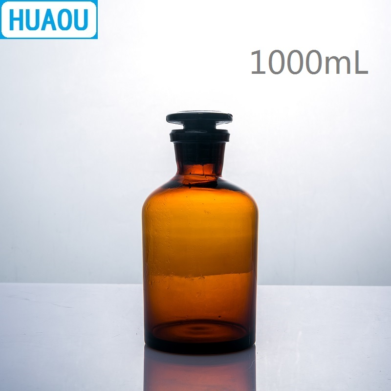 HUAOU 1000mL Narrow Mouth Reagent Bottle 1L Brown Amber Glass With Ground In Glass Stopper Laboratory Chemistry Equipment