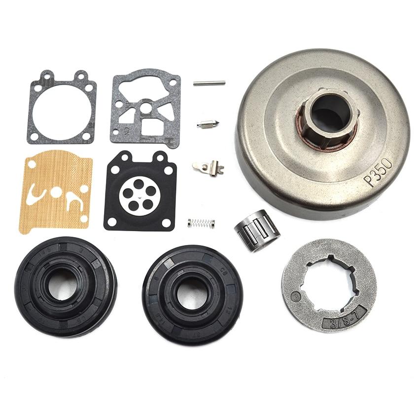 Clutch Drum 3/8 -7 Rim Sprocket  Needle Bearing Oil Seal Carburetor Repair Kit For Partner 350 351 Chainsaw Engine Parts 41mm piston pin circle ring needle bearing kit for partner 350 351 chainsaw parts