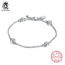 ORSA JEWELS 925 Sterling Silver Women Bracelets 4 Pieces Round Shape AAA Cubic Zircon Fashion Bracelet Jewelry Female Gift SB26(China)