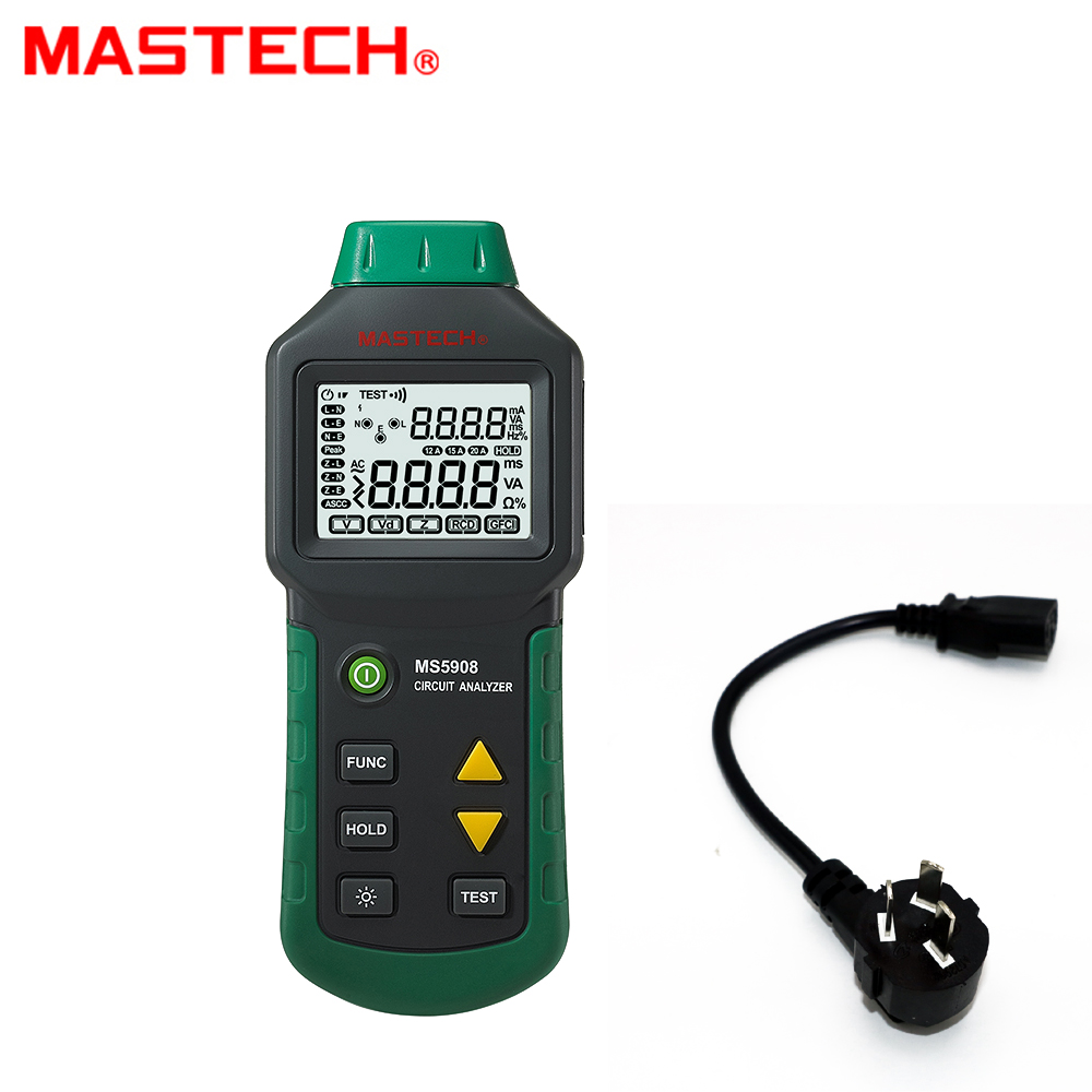 MASTECH MS5908B Circuit Analyzer TRMS AC Low Voltage Distribution Line Fault Tester RCD GFCI Sockets Testing 220v