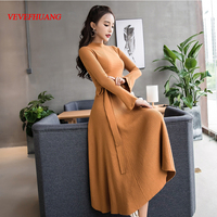 2018 New Fashion dress Knitting Full Sleeve Slim Women Long Render A Sweater Dresses Red Black Chocolate L0695