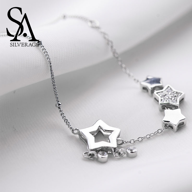 SA SILVERAGE Real 925 Sterling Silver Anklets for Women Fine Jewelry Zircon Star Charms Adjustable 2019 Hot Sale Silver Jewelry  gold earrings for women