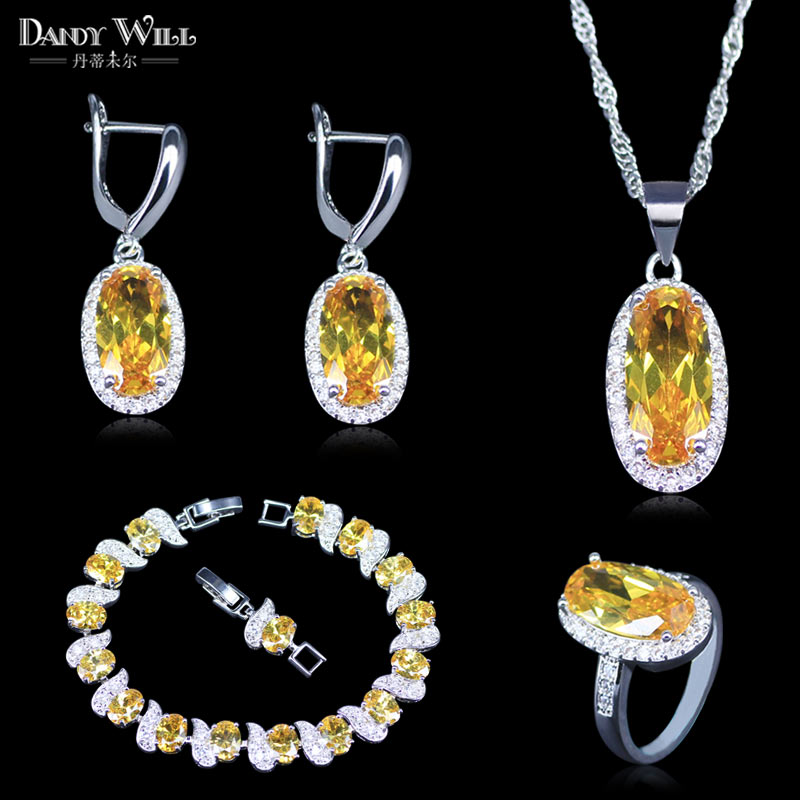 Ring Necklace Bracelet Jewelry-Sets Zircon Pendant Silver-Color Fashion Yellow Women